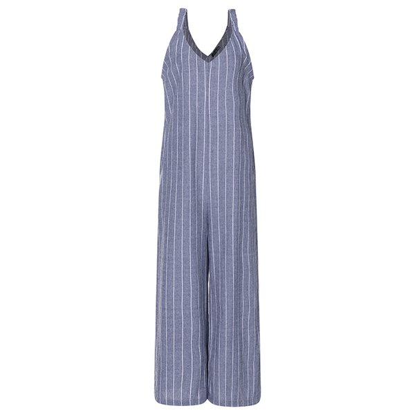 2019 Zanzea Jumpsuits Women Wide Leg Trousers Striped Sexy Deep V Neck Sleeveless Strappy Summer Pants Casual Overalls Plus Size J190717