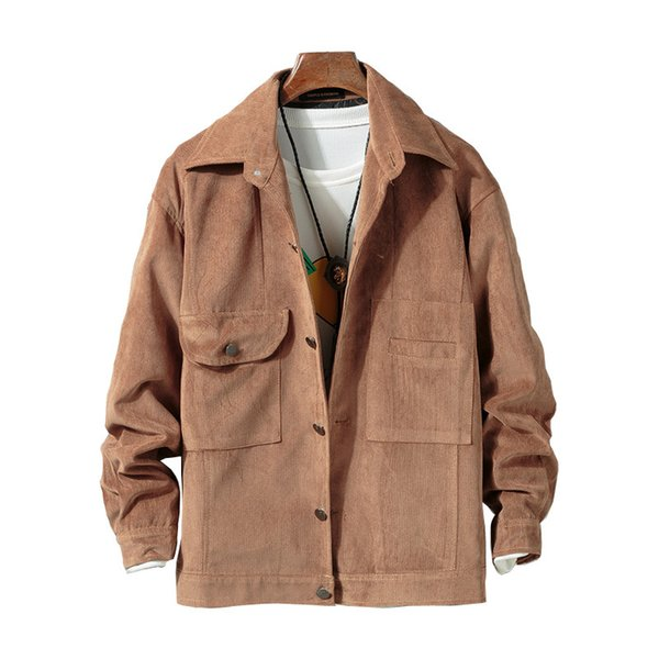 Мужская твердая вельветовая куртка Пальто с отложным воротником Передние карманы Коричневые мужские куртки и пальто Повседневная верхняя одежда Ветровка Мужская