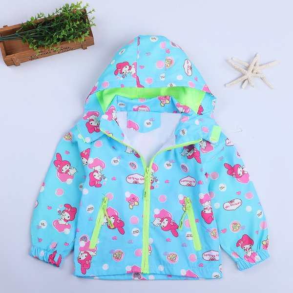 d8bfd8815 New Girls Trench Coat Me Melody Hello Kitty Windbreaker Jacket Baby Girl  Hooded Jacket Kids Overall