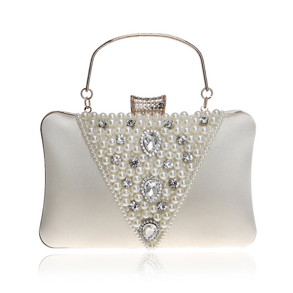 Vintage Style Embroidery Beaded Women Evening Bags Diamonds Metal V Design Pearl Day Clutch Purse Bags For Female Purse #258748