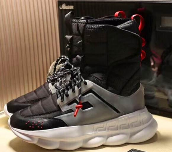 2019 Mens High Top Black Chain Reaction Casual Shoes Boots Medusa Chain-linked Sneakers Trainer Luxury Sneaker Big Size A44