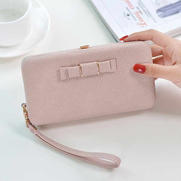 New Female Vintage Wallet Two Fold Simple Bow Women Purse Solid Pu Coin Phone Big Purse Zipper Hasp Long Clutch Bag Card Holder
