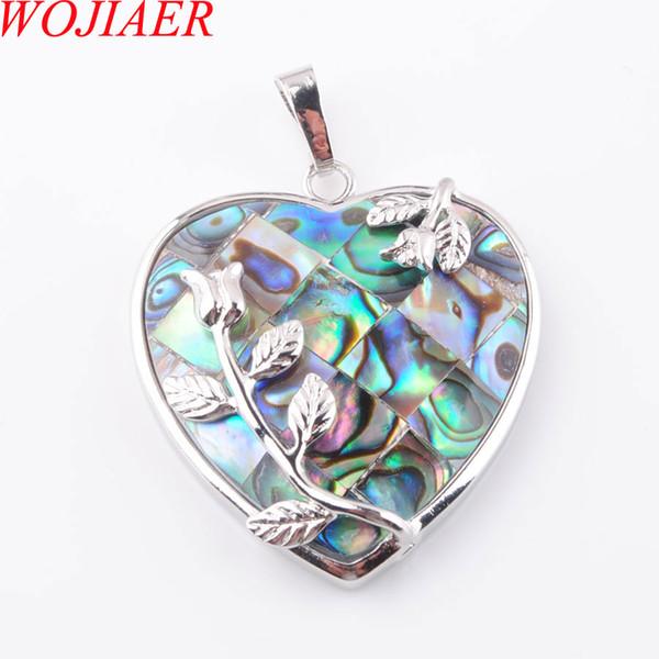 Joyería WOJIAER Natural Nueva Zelanda Shell del olmo de la piedra de gema perlas corazón colgante de collar de la mujer 1PCS DN3643