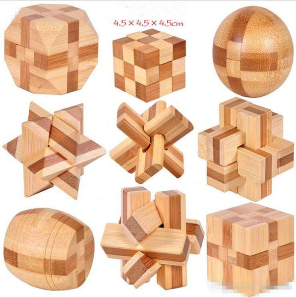 IQ Brain Teaser Kong Ming Lock 3D Wooden Interlocking Burr Puzzles Game Toy For Adults Kids D42