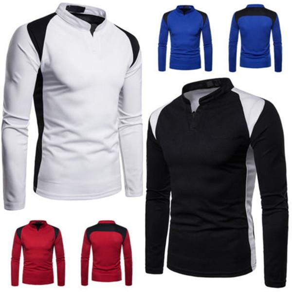 Fashion Men Long Sleeves T-Shirt Slim Splice Fit Custom Shirt Crease Design O Neck Fitness Sport Shirt Running Exercise T-Shirts