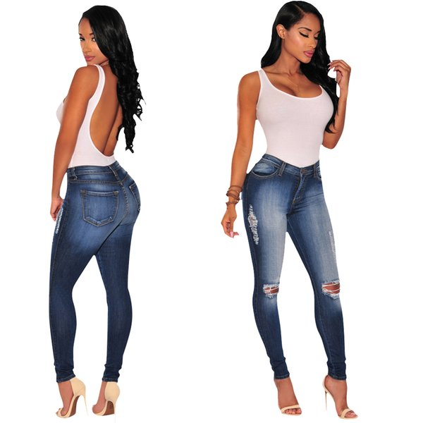 Wholesale 2019 Women jeans High Strength Water washed skinny jeans Ladies fashion New Style Leisure Bottom Jeans 124#