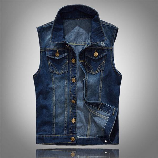 Marca Jeans Casuais Sem Mangas Jaqueta de Corrida Colete Homens Streetwear Denim Cardigans Colete Plus Size 5XL Cowboy Colete Mens Jaqueta