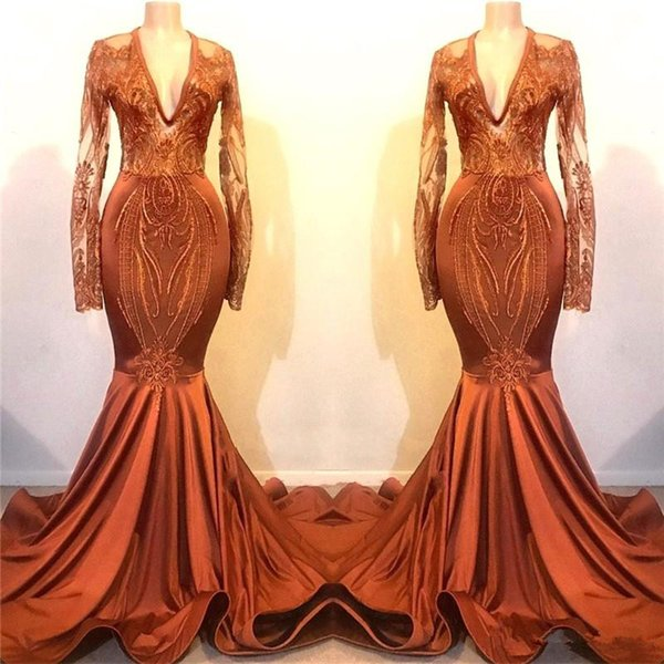 Orange Lace Appliques Long Sleeves Prom Party Dresses Mermaid Evening Gowns Satin Sweep Train Cheap Formal Party robes de soirée