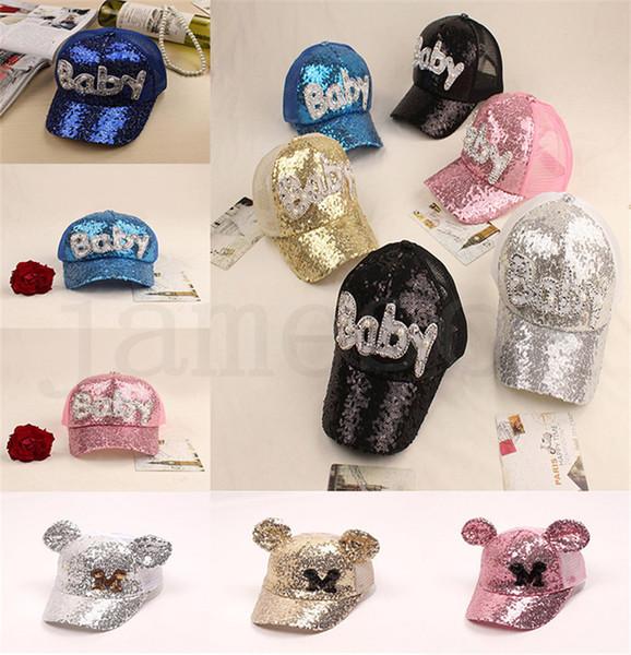 17 style Sequins Kids Hats Glitter Baby M Printed Baseball Caps Boys Snapback Hip-hop Hat Summer Sunscreen Cap Mesh Ball Hat dc383