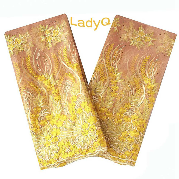 LadyQ Yellow Wedding Beaded Lace Fabric with Stones Swiss Voile Lace In Switzerland Green Multicolor French African Lace Fabric