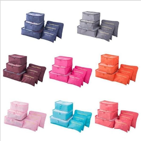 6 Adet / takım Seyahat Ev Bagaj Saklama Çantası Giysi Saklama Organizatör Taşınabilir Kozmetik Çantaları Sutyen Iç Çamaşırı Kese Saklama Torbaları 8 Renk ST070