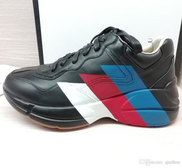 19guccl8 роскошные мужские дизайнерские туфли Rhyton Web печати кожаные кроссовки черные