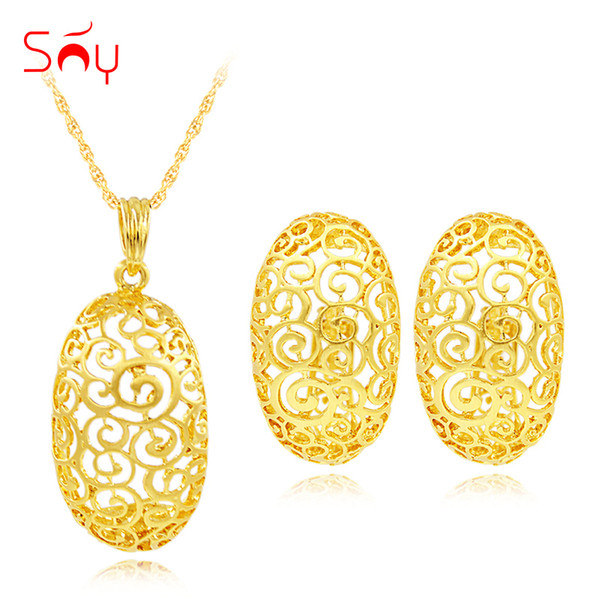 sets women Sunny Trendy New Arrivals Big Earrings Pendant Necklace Jewelry Sets Women Alloy Egg Plant Flower For