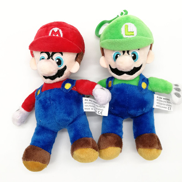 "Top New 2 Styles 6"" 15CM Super Mario Bros Mario Luigi Plush Doll Anime Collectible Stuffed Pendants Party Gifts Soft Toys"