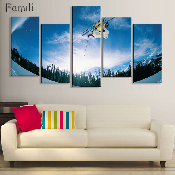 5 Panel Surf On The Sea Canvas Printings Ski Doo Freeride Painting Wall Art Home Decoration Poster Printed Canvas Unframed