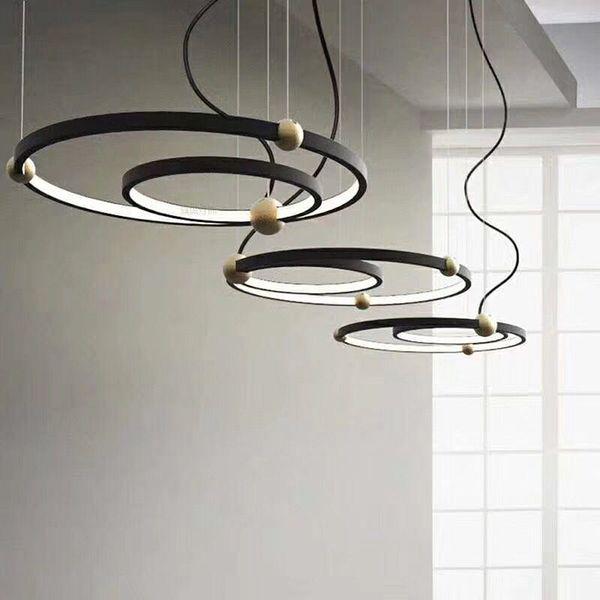 Suspension Maison Éclairage Luminaire Intérieur Acheter Mode Noir Art Pendentif Led Nouveau Déco Anneaux Suspensions Moderne Y6gb7yf