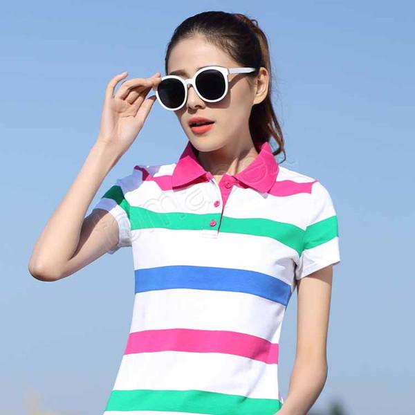 Primavera quente e verão nova listagem de qualidade de manga curta de algodão listrado lapelas magro casual sportswear T-shirt das mulheres