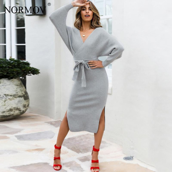 preview of excellent quality classic shoes NORMOV Women Winter Sweater Dress Women Sexy Christmas Party Dresses V Neck  Long Sleeve Bodycon Long Dress Lace Outfits Junior Cocktail Dresses From ...