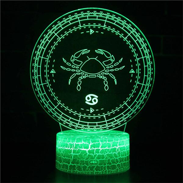 Krebs Nachtlicht - 3D Illusion Lampe 16 Farbwechsel Konstellation LED Nachtlicht mit Fernbedienung Geschenk für Kinder Kinder