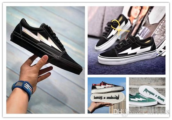 Newest Revenge x Storm Sneakers Pop up Store Top Quality Old SKool Off Fashion Grid Mens Skateboard Vulcanized Ins Canvas Shoes-36-44