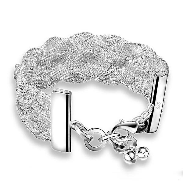 Toptan Sıcak 5 Adet Şanslı Parlaklık Marka Vintage 925 Gümüş Net dokuma Bilezik Kadınlar Için Bilezikler Moda Bohem Stili Bilezik YENI