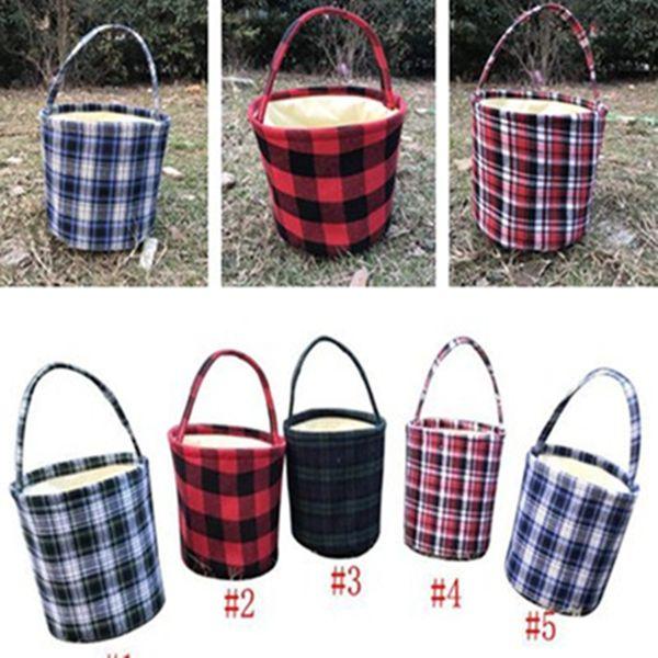 2019 Easter Bucket Plaid Easter Baskets Buffalo Plaid Handmade Reversible Fabric Storage Basket Candy Bags Kids Handbags Picnic Bucket Bag