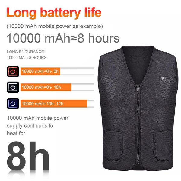 long battery life electric heating usb sleeveless vest motorcycle jacket winter outdoor sports cycling racing back armor