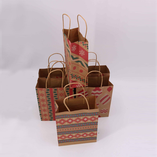 Christmas Gift Bags With Handle Printed Kraft Paper Bag Kids Party Favors Bags Box Christmas Decoration Home Xmas Cake Candy Bag DBC VT1122