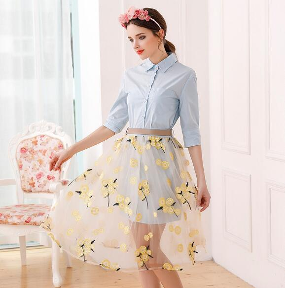 Cheapest New Europe America Blouse Embroidery Gauze Dress Two-piece Dress