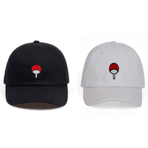 Logo animado japonés Naruto visera del sombrero de la manera de la familia Uchiha bordado gorras de béisbol Negro Snapback sombrero blanco Hip Hop para Kid hombres de las mujeres