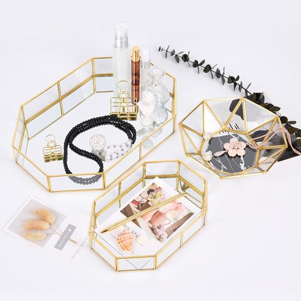 Nordic Style Glass Home Office storage tray,brass storage Organizer tray gold Bathroom cosmetic jewelry storage tray