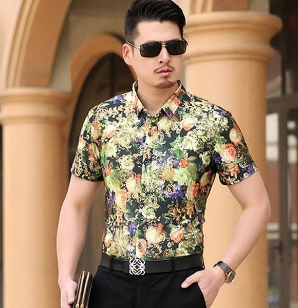 Mens Orange Green Floral Shirt Slim Fit Luxury Cotton Brand Casual Men Short-sleeve Dress Shirt Male Blouser Large Size 7XL S256
