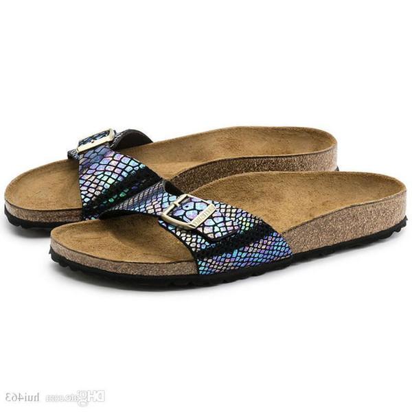 Famosa marca Arizona hombre sandalias planas mujeres zapatos casuales hombre sola hebilla verano palabra arrastre playa de calidad superior zapatillas de cuero genuino