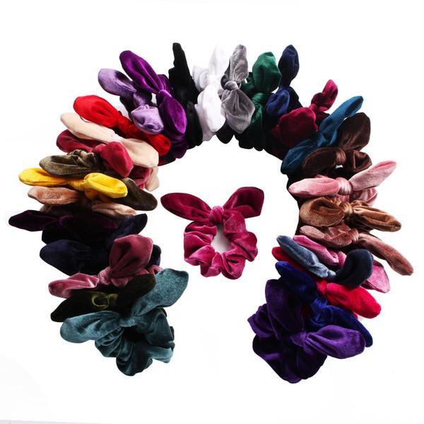 30 Renk Kadife bant Elastik Saç Scrunchies Toka Hairbands Kafa Bandı At Kuyruğu Tutucu Kız aksesuarları Çocuk Saç Aksesuarları Bunny Kulakları