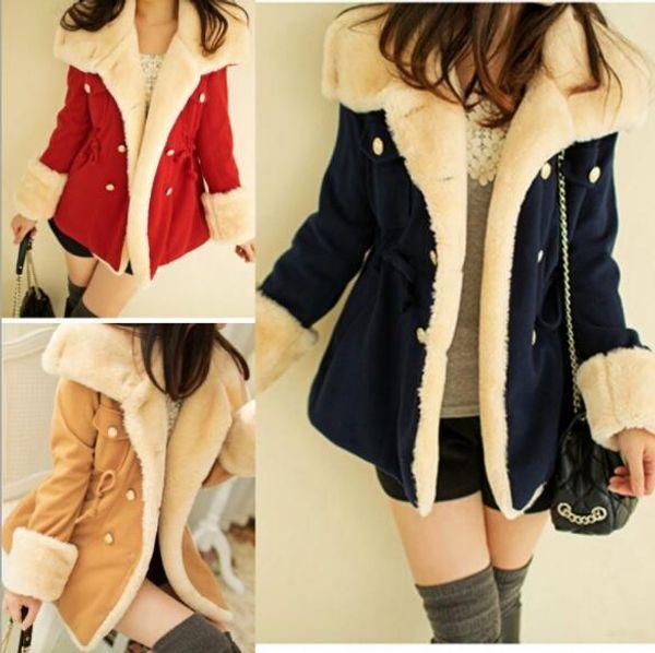 2019 winter autumn warm coats woolen slim double breasted thick coat jacket casual fur female coat jackets plus size 2xl