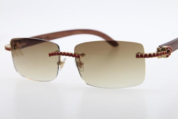 Free Shipping Wood Red diamond Rimless Wood Sunglasses Men Red stone Unisex Wooen 3524012 Glasses Brown Lens