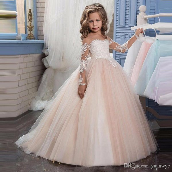 Long flower gilr Lace tulle Embroidery Sheer dress Long Sleeves Kids Trailing party wedding ball Gowns
