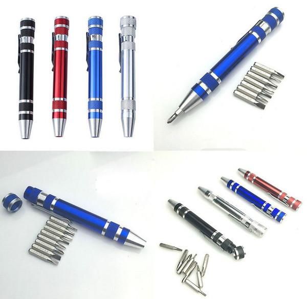 8 in 1 Schraubendreher-Satz Aluminium Präzision Stift Schraubendreher Kit Stift Stil Reparatur Werkzeuge für Handy Multi-Tool Schraubendreher geschlitzt