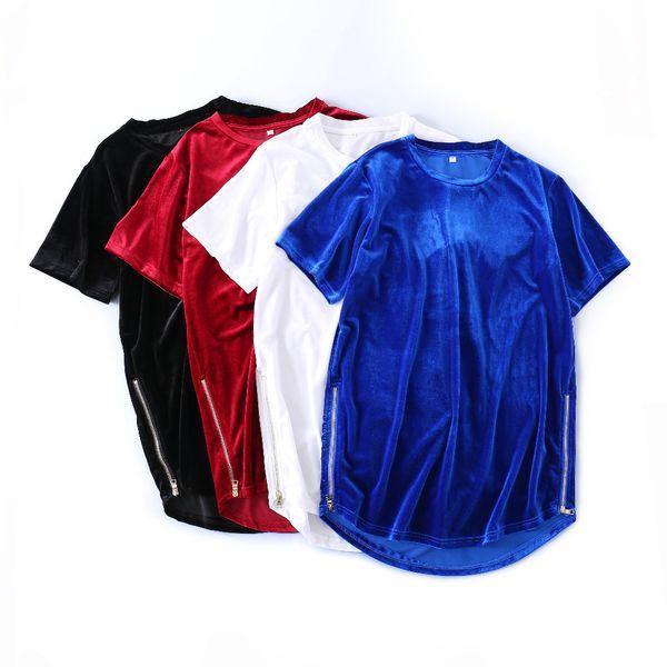 Kanye West Streetwear Men's Velour T-shirt Oversized Side Zipper Arc Hem Velvet Solid Color Short-sleeve Tshirts Youth Hip-hop C19041102