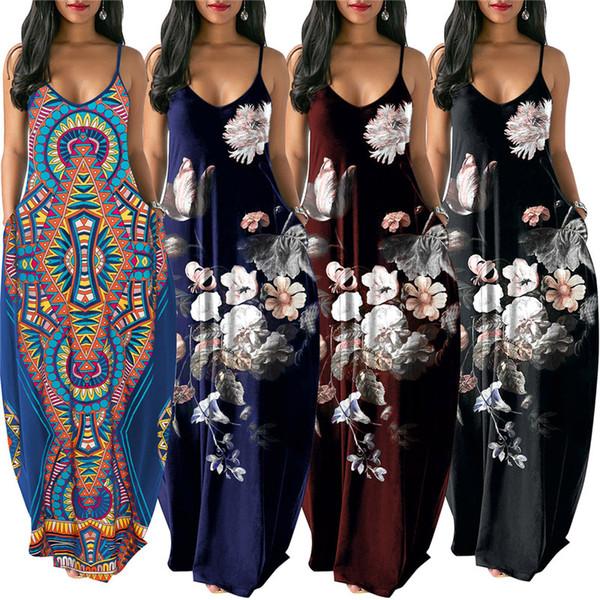 Ethnic style Floral Print Dress Spaghetti Strap Backless Long Dress Boho Deep V Sleeveless One-piece Skirt Casual Beach Maxi Dress Clothing