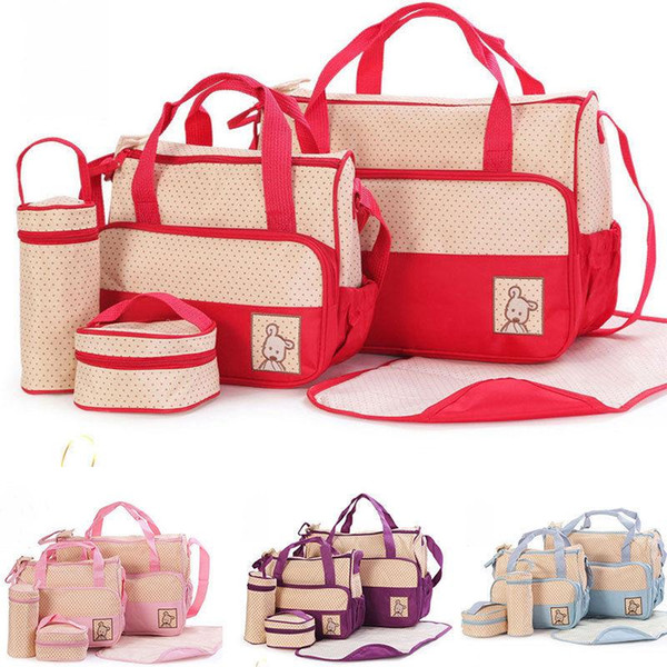 5pcs/lot Mummy Multifunctional Bag Diaper Separate Shoulder Bag Maternity Nappy Handbag Baby Tote Organizer Bottle Storage Bags MMA1287