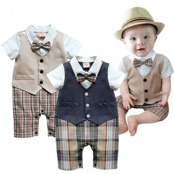Recién nacido Niño Bebé Ropa de verano Pequeño traje de caballero Bautizo Fiesta formal Mono Mono Ropa de bebé Años nuevo