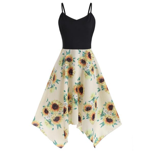 Plus Size Sunflower Print Handkerchief Dress Women High Waist Bodycon  Vestidos Pretty Party Dresses Sundresses For Sale From Vanilla03, $38.89|  ...