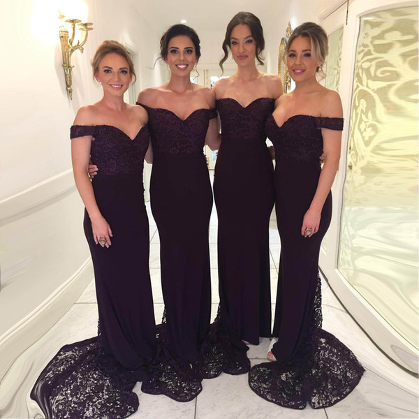 2019 Marineblau Applizierte Brautjungfer Kleid Meerjungfrau Spitze Schulterfrei Formale Party Kleid Mantel Hochzeitsgast Kleid Nach Maß BM0361