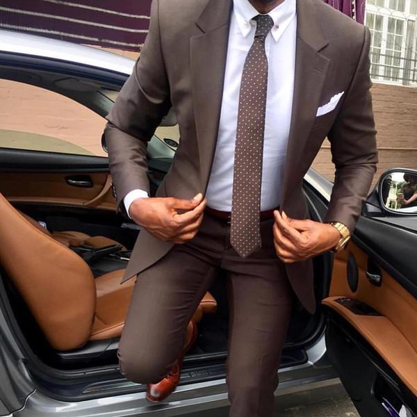 2019 Beau deux pièces garçons d'honneur costumes sur mesure Modest Peak revers revers Slim Fit Business Suits Hommes (veste + pantalon)