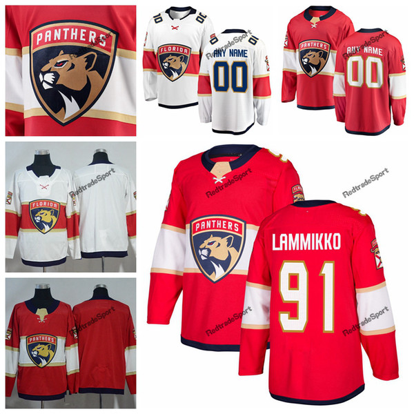 2019 Florida Panthers Juho Lammikko Maglie Hockey Mens Nome personalizzato Home Red # 91 Juho Lammikko Maglie Hockey cucite S-XXXL