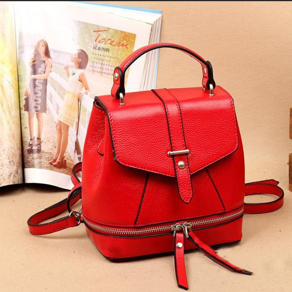 Glitzy2019 Tide Genuine Leather Both Shoulders Package Woman School Wind Leisure Time Backpack Cowhide Bucket Bag