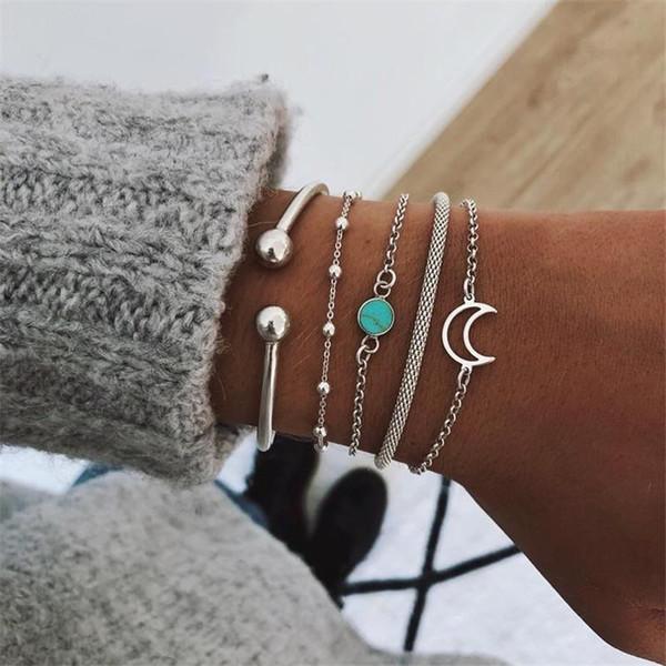5 Teile / satz Vintage Silber Stulpearmband Armbänder Für Frauen Böhmen Türkis Mond Charme Kette Perlenarmband Set 2019 Schmuck Geschenke