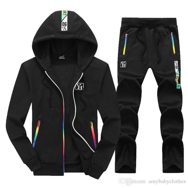 Padrão Printing Homens Define Casual Calças Coats Outono Inverno camisola cordão masculinos sportswear Zipper hoodies do revestimento