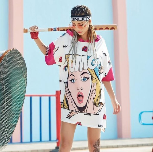 2019 New Summer Funny OMG Cartoon Girls T Shirts For Women Long Hooded Tee Shirts Women Tops Hip Hop Dance Clothes J190424